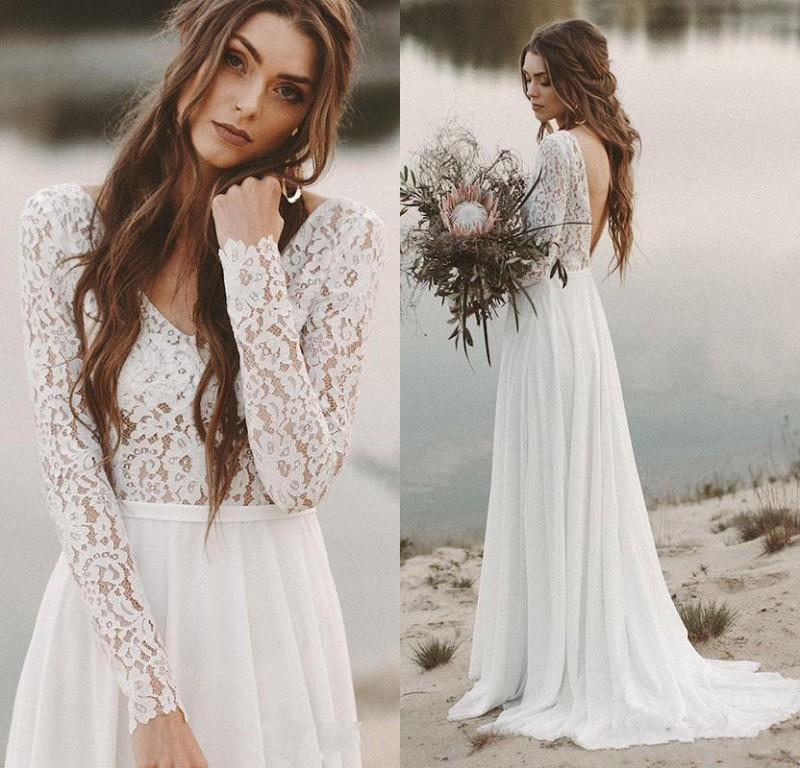 Long Sleeves Beach Wedding Dresses Backless Bridal Dress Chiffon and Lace V neck Vestidos De Novia
