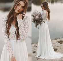 Long Sleeves Beach Wedding Dresses Backless Bridal Dress Chiffon and Lace V neck Vestidos De Novia Beach Custom Made Ivory White