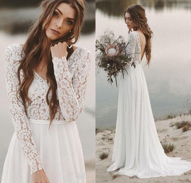 ארוך שרוולים חוף שמלות כלה ללא משענת כלה שמלת שיפון ותחרה V צוואר Vestidos דה Novia חוף תפור לפי מידה שנהב לבן