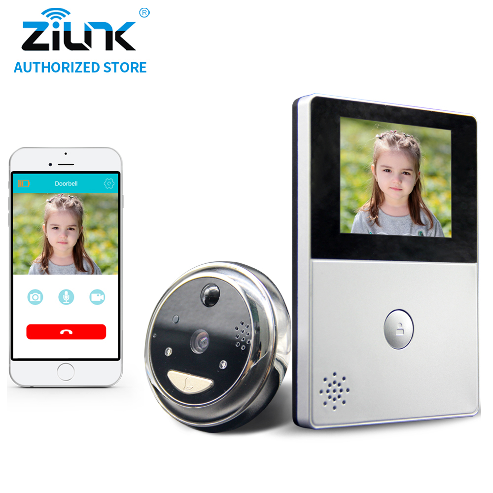 ZILNK Battery Peephole WiFi Doorbell Cloud Storage PIR Night Vision Video Intercom Cateye with 8GB TF Card 2 Way Audio Silver zilnk video intercom hd 720p wifi doorbell camera smart home security night vision wireless doorphone with indoor chime silver