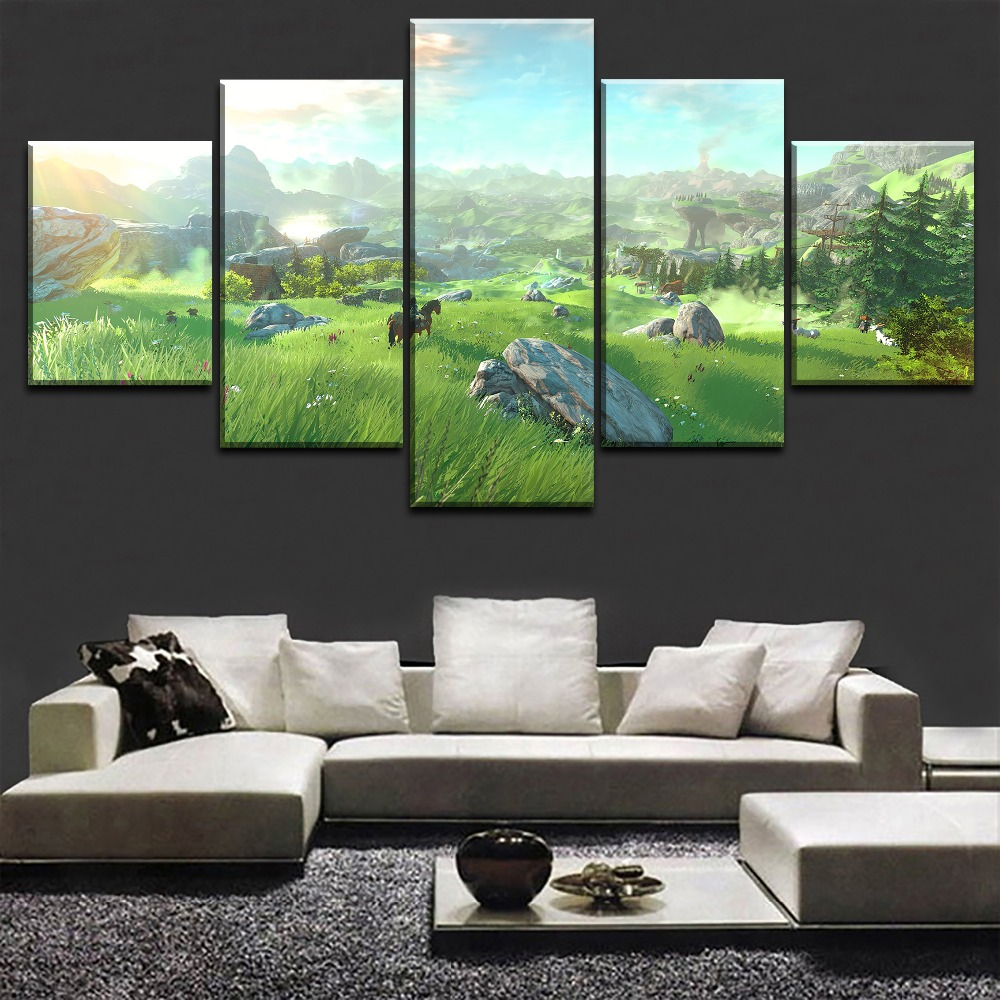 Legend Of Zelda Wall Art.Us 5 84 40 Off Home Decoration Canvas Painting Hd Prints 5 Pieces The Legend Of Zelda Wall Art Game Modular Living Room Pictures Artwork Poster In