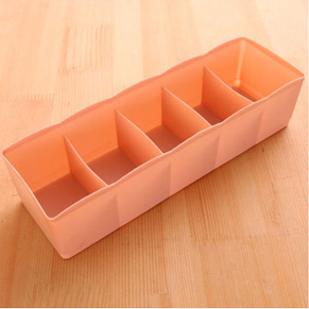 5 Cells Plastic Organizer Storage Box Tie Bra Socks Underwear Drawer Cosmetic Divider Lidded Closet Home Organizers Case Holder
