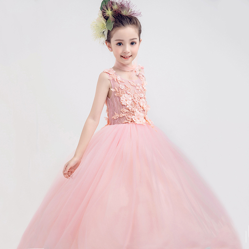 2018 Kids Girls Flower Dress Baby Girl Butterfly Birthday Party Dresses Children Fancy Princess Ball Gown Wedding Clothes CC770 kids girls flower dress baby girl long sleeve birthday party dresses children girls princess ball gown wedding clothes