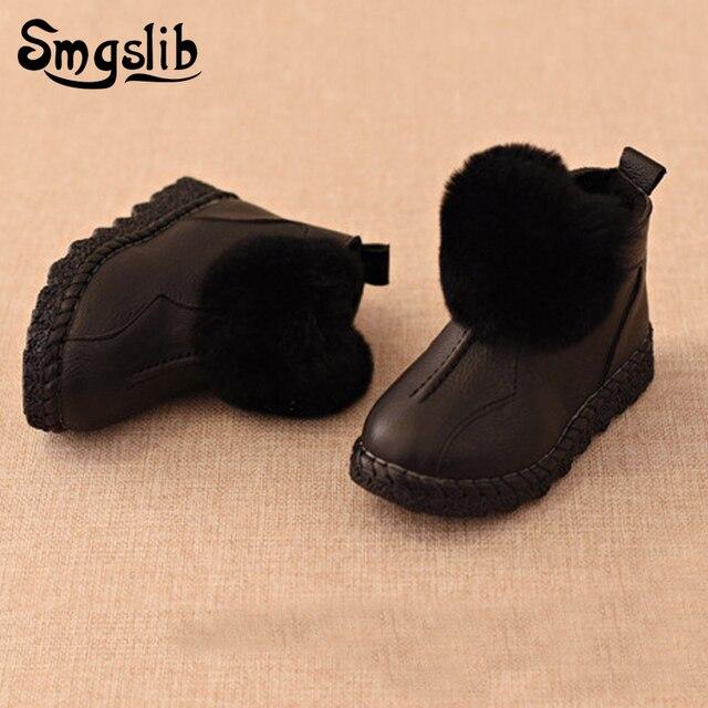 3c6babb12 Smgslib otoño invierno las niñas botas de nieve zapatos de niños botas  Martin botas de cuero