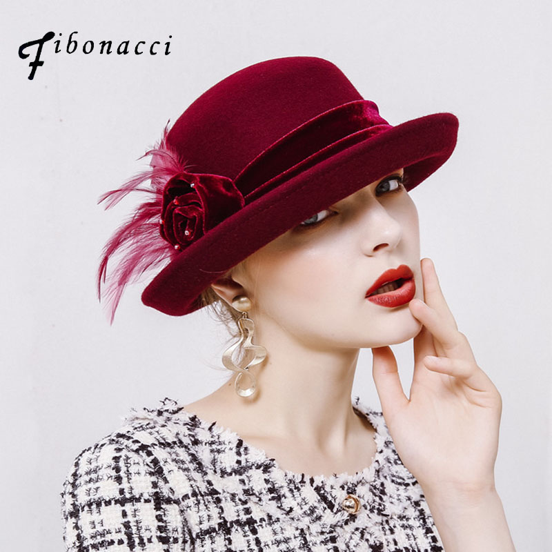 Fibonacci 2017 New Autumn Winter Female Elegant Fedoras Wool Felt Flowers Dome Flanging Banquet Women Fedora Hats