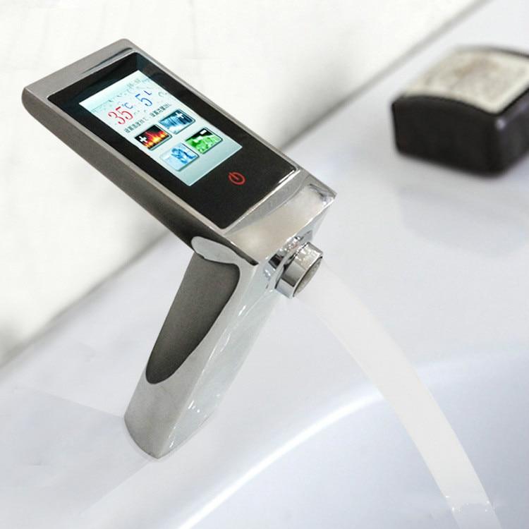 Термостатический Смеситель Сенсорный экран Температура и поток Управление цифровой кран Smart Touch кран