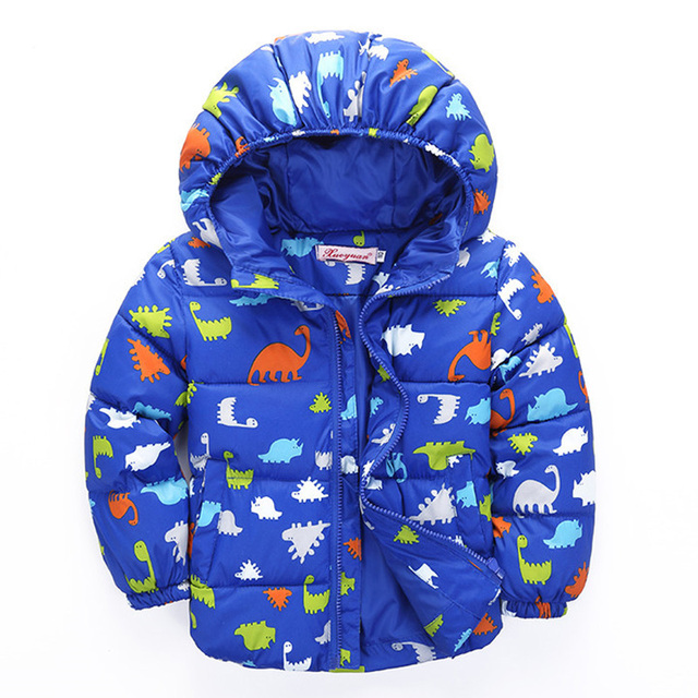 fashion new boy jacket coat winter cotton dinosaur thick jacket outfit children clothes kids boy down & parkas