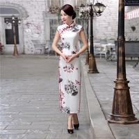 Shanghai Story Long Cheongsam Dress Traditional Chinese Dress Faux Silk Qipao Dress Oriental Chinese Qipao Dress