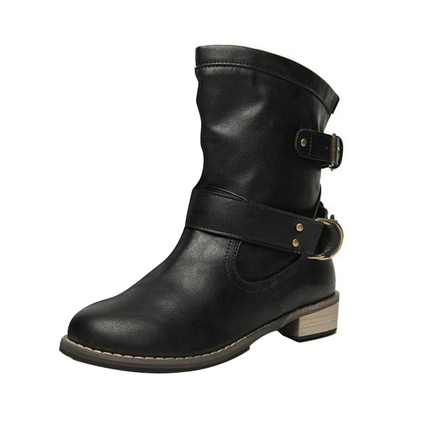 1 pair Womens Ladies Shoes Boots Ankle Boots Bota Riding Boots Casual Ladies Martin Boots (Black, EU39=US7)