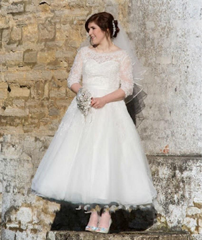 Vintage Tea Length Garden Wedding Dresses 2016 Heart Shaped ...