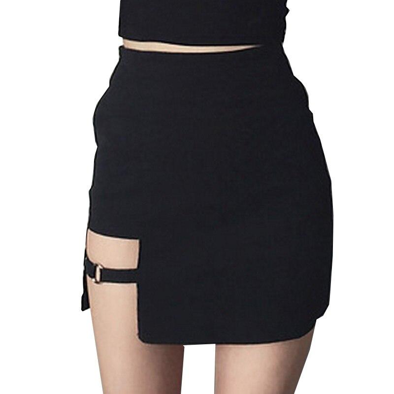 Sexy mini Faldas mujeres 2017 asimétrico negro alta cintura diseño personalidad partido falda femenina