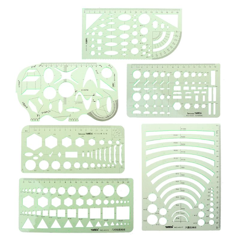 6Pcs Drawing Templates Measuring Plastic Geometric Jewelry Design Rulers Green