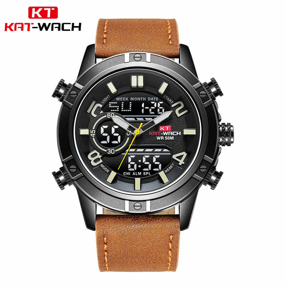 Dual Display Popular Fashion Men Sports Watches Brown Leather Black Steel Dial Quartz Clock Military Waterproof Digital Watch