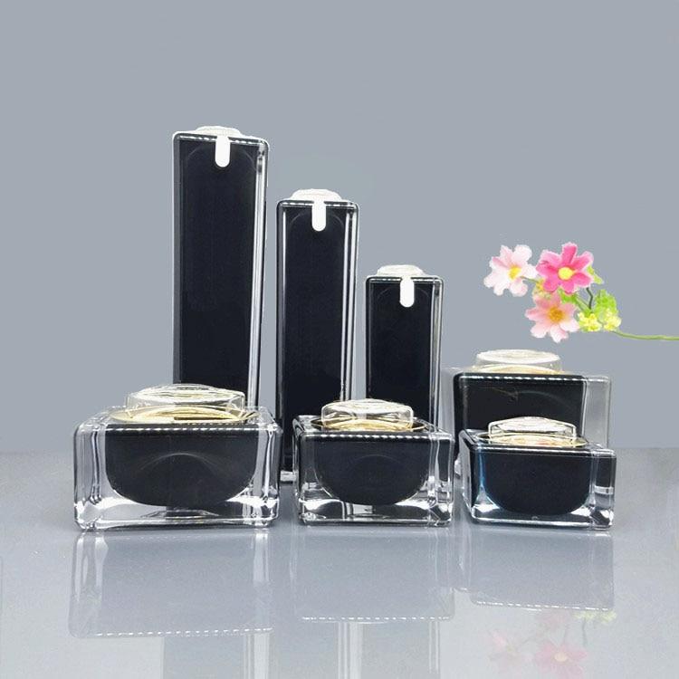 10ml 15ml 30ml 50ml 100ml Black Acrylic Cream Jar Gold Cap Empty Cosmetic Bottle Container Jar