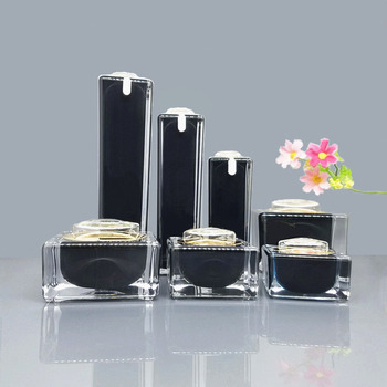 7pcs/lot10ml,15ml,30ml 50ml,100ml Black Acrylic Cream Jar Gold Cap Empty Cosmetic Bottle Container Jar Square Lotion Pump Bottle