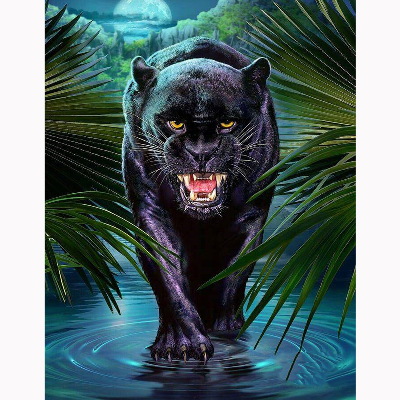 "DIY Diamond Embroidery Diamond Painting""Black Panther""Cross Stitch Mosaic diamond picture of rhinestones by numbers home Decor(China)"