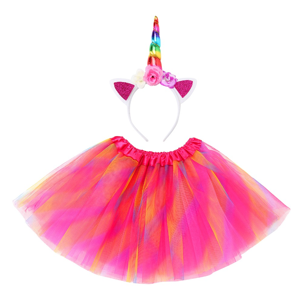 Girls Party Dress with Unicorn Headband Baby Girls Summer Dress Birthday Ball Gown Vestidos Princess Costume for Kids Dresses