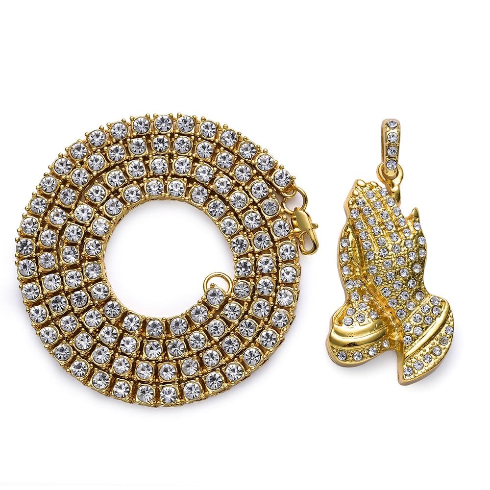 Hip Hop Schmuck Geschenke Goldene Bling 1 Reihe Strass Stein Jesus Halsketten Anhänger Frauen Männer Beten Buddha Hände Ketten