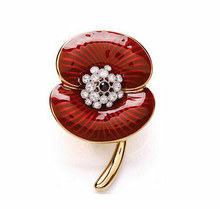 Fashion Jewelry Wholesale Gold Tone With Clear Crystal Rhinestone Red Flower Poppy Brooches and Pins Gift