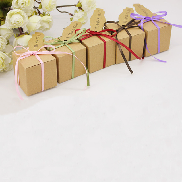 50pcs Lot Creative Small Wedding Candy Box With Colorful Ribbon And Thank You Card DIY Paper Party Birthday Gift 555cm