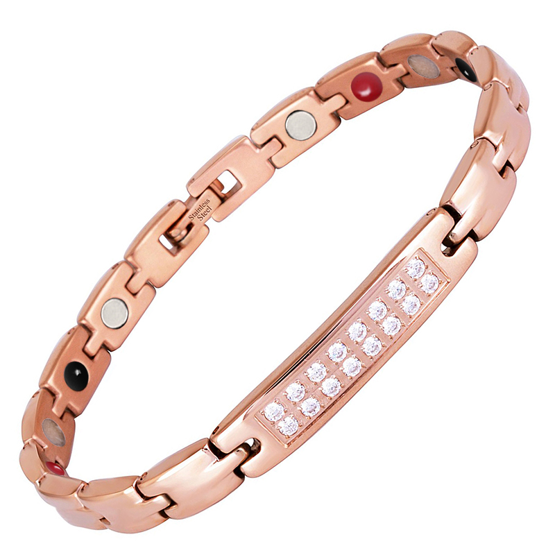 LITTLE FROG Zircon Gem Woman Bracelet Stainless Steel Health Energy Magnetic Rose Gold Fashion Jewelry Lady Bracelets 10249