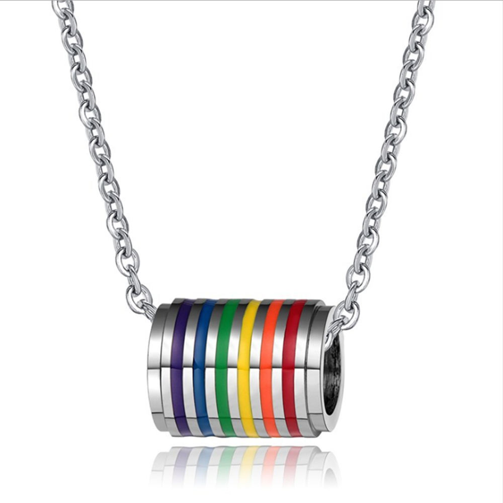 Men Women Gay Pride Rainbow Necklace Gay and Lesbian Pride Cylinder Shape Pendant Necklace Lovers Couple Jewelry Gift