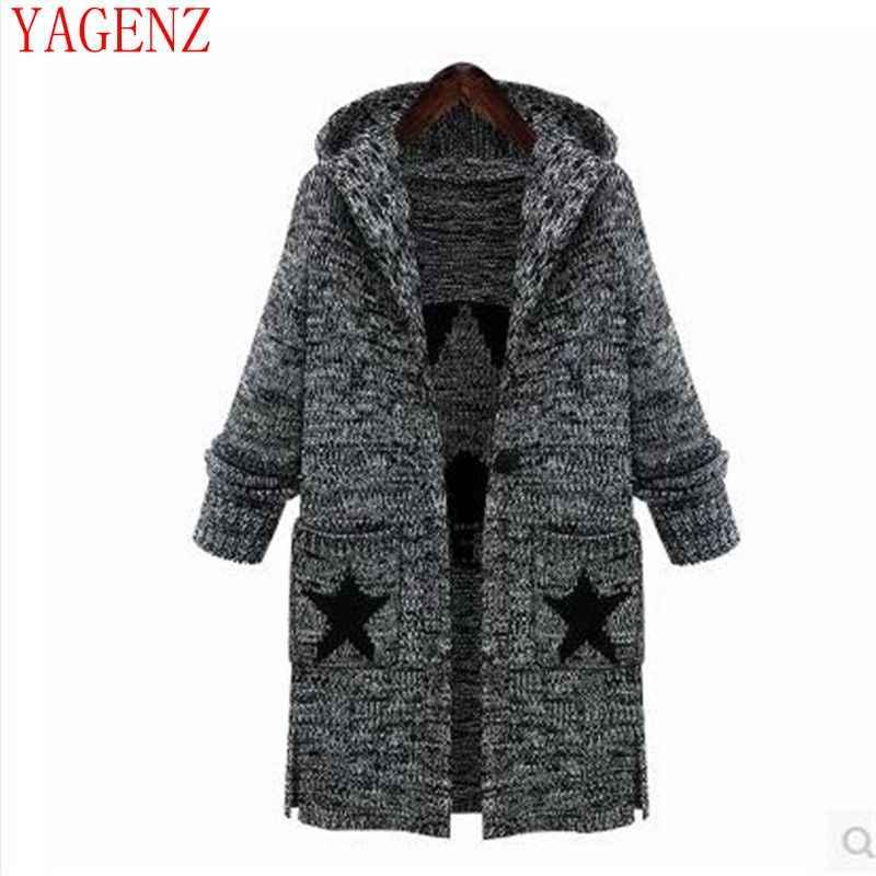 Зимняя одежда большой ярдов теплый свитер, куртка новая Европа и США Женская Толстая вязаная куртка с капюшоном KG54 YAGENZ