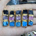 Wholesale Natural Unique 3 Color Connection Druse Crystal Stone Pendant Irregular Geode DIY Fit Necklace For Jewelry Making