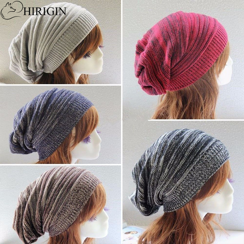 HIRIGIN Women Men Knitting Beanie Wool Baggy Oversize Slouchy Hip-Hop Winter Warm Caps Unisex Hats For Women Feminino Bone цена и фото