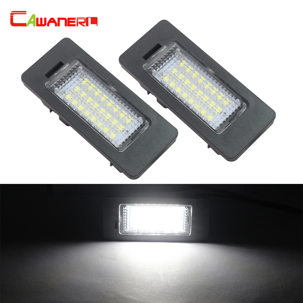 Cawanerl For BMW E82 E88 E90 E91 E92 E93 E39 E60 E61 E70 E71 X5 X6 M5 2 X Car Styling LED Number License Plate Light White 12V 2x e marked obc error free 24 led white license number plate light lamp for bmw e81 e82 e90 e91 e92 e93 e60 e61 e39 x1 e84
