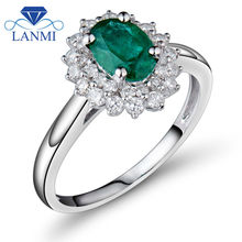 Solid 14K White Emerald Diamond Gold Ring Oval 5x7mm For Monther's day Fine Jewelry BAB1401