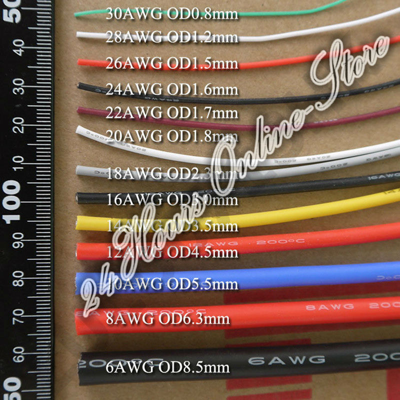 17 awg flexible silicone wire rc cable 17awg 210008ts outer 17 awg flexible silicone wire rc cable 17awg 210008ts outer diameter 30mm with 6 colors to select in wires cables from lights lighting on keyboard keysfo Images
