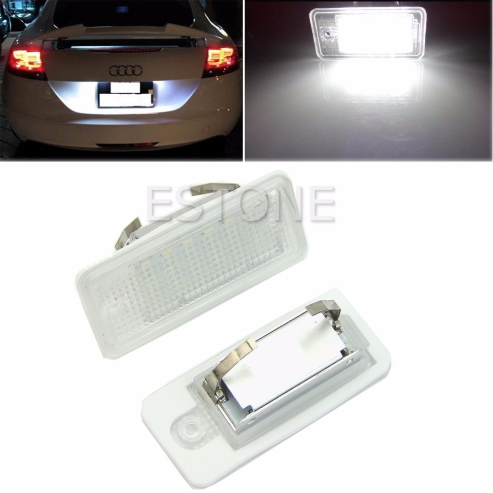 2x Canbus Error Free License Plate Light For Audi A3 A4 A6 S6 A8 Q7 White 18-LED for audi a4 2004 number plate light white led bulb c5w 39mm 3 led canbus error free