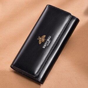 Image 1 - Cartera de cuero genuino 2020 para mujer, monedero con cerrojo de marca de lujo, billetera larga de cuero para mujer, billetera de teléfono de abeja, titular de la tarjeta femenina