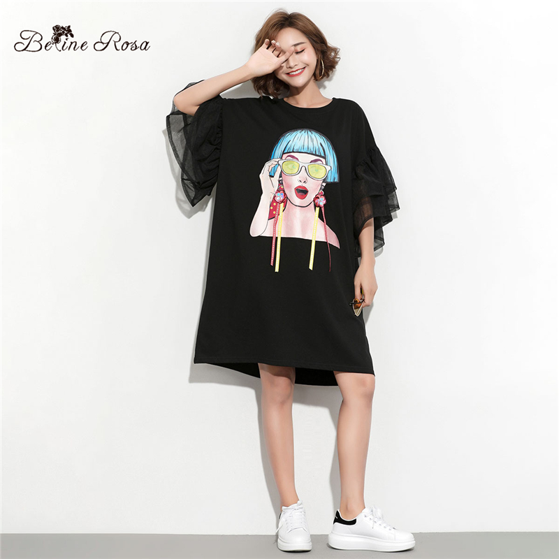 pretty and colorful big sale large assortment US $15.59 48% OFF BelineRosa 2019 Women's Big Sizes Tunic Dresses Female  Ladies Pattern Flare Sleeve Fashion Designer T shirt Dress HS000612-in ...