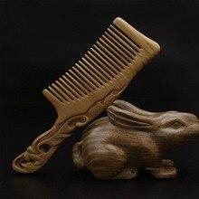 Natural handmade Green Sandalwood leaf Boutique Comb hairdressing professional health care Green sandalwood wooden Combs