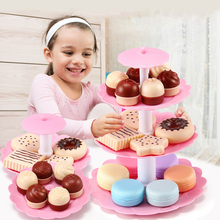 Kids Pretend Play Kitchen Afternoon Tea Toys Set for Girls Dessert Tower Miniature Food Kitchen Play toy Mini Cake Biscuits Gift недорого