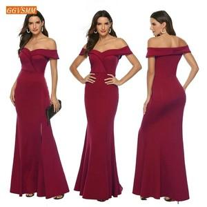 Image 2 - אופנה בורגונדי בת ים שושבינה שמלות ארוך 2020 זול מסיבת חתונת שמלות אלסטי סאטן לקיר אורך תחרות נשים שמלה