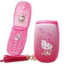 """KUH W88 Flip entsperrt vibration 1,8 """"ziemlich taschenlampe kleine frau kind-mädchen-nette hallo kitty cartoon mini handy P473"""