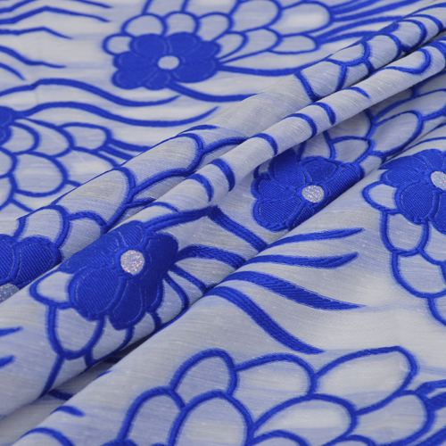 Vente! 120 cm bleu frais jacquard dentelle tissu pour mariage soirée danse robe vêtements décoration
