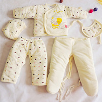 Nouveau 5 PCS Bébé Coton Épais Vêtements Enfants Manteau pour L'extérieur chaud costumes pour bébé soins vêtements