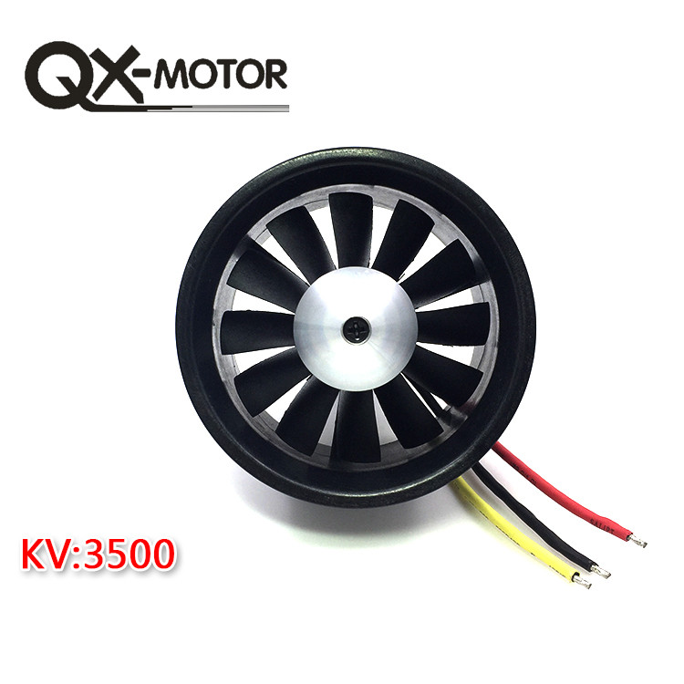 купить QX 64mm EDF with 12 Blades Ducted Fan Jet 3S-4S Motor QF2822 3500KV/ 4300KV Brushless Motor for RC Airplane F22131/2 по цене 1824.21 рублей