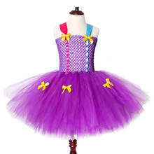 2019 New Girl Tutu Dress Purple Tulle Princess Children Birthday Party for Kids Cosplay Halloween Costumes