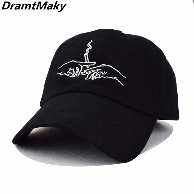 c348f869472 Hands Smoking Embroidery Baseball Caps Cotton Cap Men Women Customer Design  2018 Brand Hat Black Cap