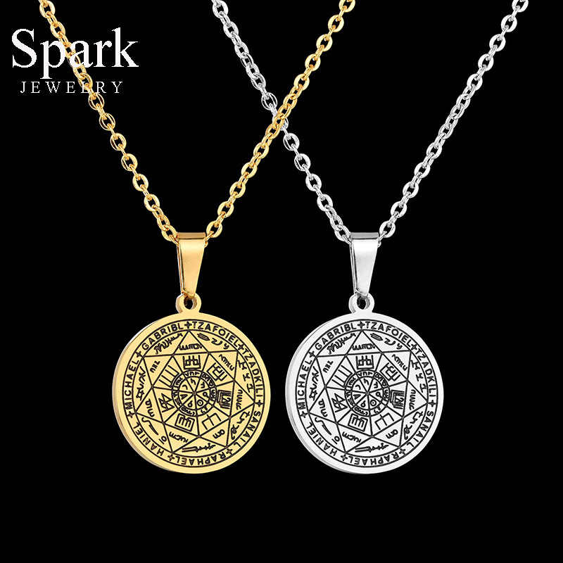 SPARK retro stal nierdzewna Heptagram salomon talizman naszyjnik dla kobiet mężczyzn złota moneta Totem wisiorek amulet naszyjnik Party