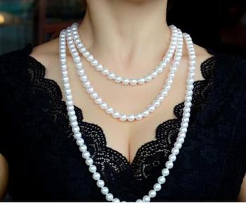 gorgeous 8-9mm south sea round white pearl necklace 38 inch