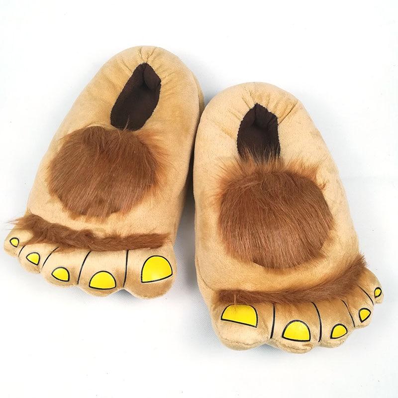 FAYUEKEY Furry Adventure Winter Women Men Vintage Home Cartoon Hobbit Toes Big Feet Slippers Halloween Pantufa Warm Floor Shoes 1