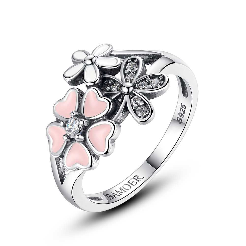 100% 925 Sterling Silver Poetic Daisy Cherry Blossom Wedding Rings Compatible With Original WOS Ring Jewelry Lover Gift BKR004