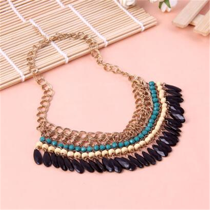 Punk Big Turquoise Vintage Bohemian Statement Necklace For Women Beads Tassel Necklaces&Pendants Collares Choker Necklaces N924