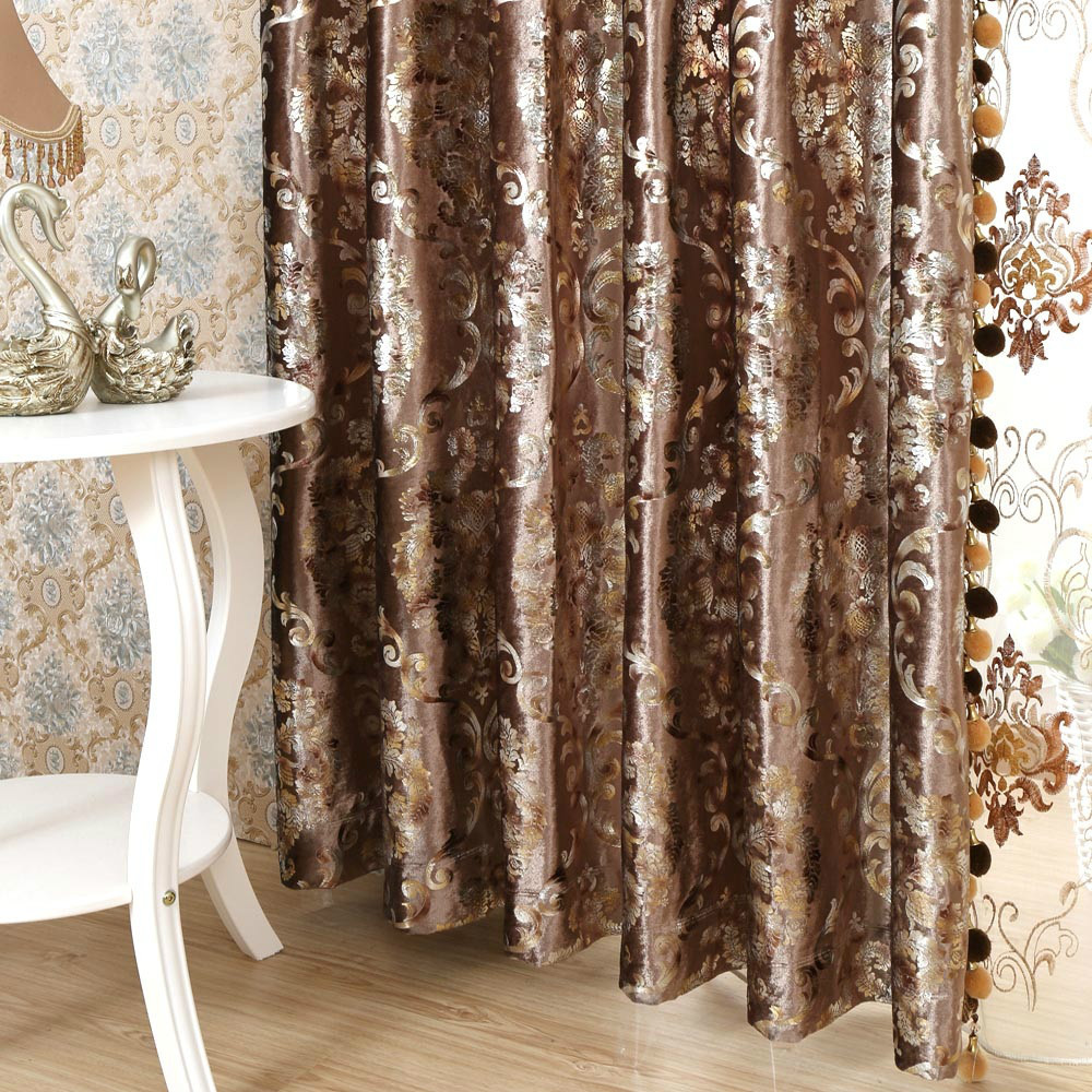 Quality fashion velvet bronzier finished products curtain window valance